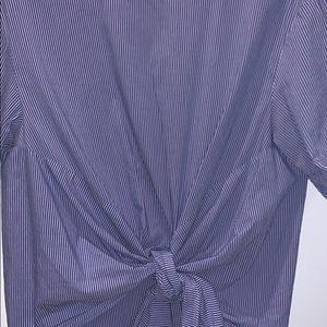 Zara blue and white blouse
